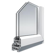 Chamfered Decueninck uPVC stormproof window frame