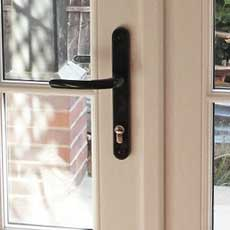 secure wooden french doors