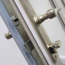 A uPVC door lock with two hook locks, roller cams and a deadbolt for extra security