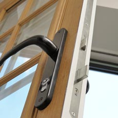 A composite door with secure multi-point lock system