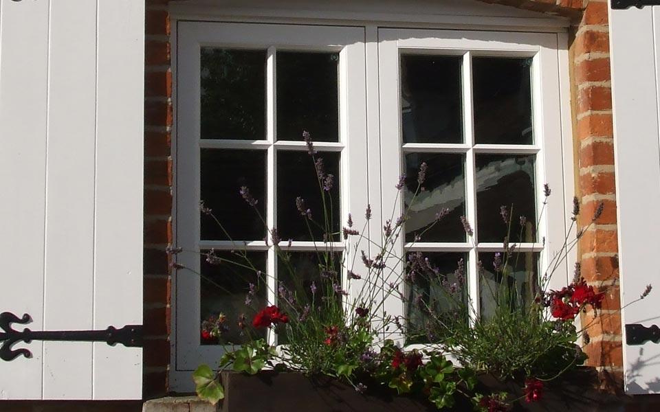 White timber flush sash windows