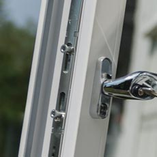 Close up on uPVC casement tilt and turn styles lock